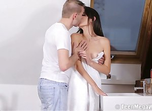 Sexual anorectic pet Nikola N gets the brush pussy fucked coupled with creampied