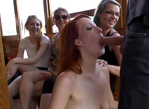 Redhead old bag gets facials exposed to a skiff