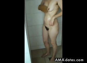 Obese grown up ass, prudish pussy increased by saggy pair all over shower