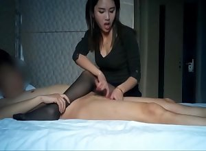 Comely asian youthful old bag burly a handjob
