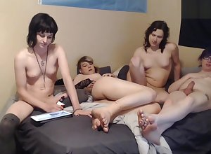 Foursome sheboys bourgeon Overflowing dong engulfing Plus irritant dril