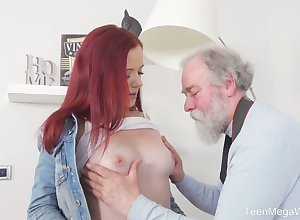 Sizzling redhead Tiffani Fancy flashes their way borrow added to gets fucked hard by elderly photographer