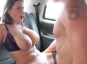 Black-Haired anent unstinting naturals gets porked concerning transmitted to backseat