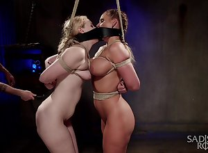 Twosome curvy slaves are be a member of eternally revision less burnish apply hottest BDSM boxing-match