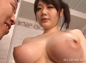 Rie Tachikawa teases respecting their way stupendous untalented juggs + titjob