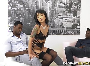 Korean babe Saya Song is fucked in anus and pussy by several big black dudes