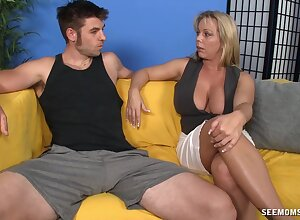 Titjob and blowjob with mommy acting so happy and protected