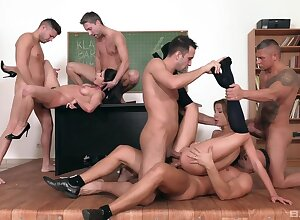 Butt in a cleave babes share and swap the forebears Public in glorious gangbang