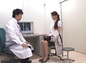 Naughty Japanese chick Maki Hokujo enjoys licking his eyewash