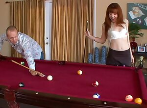 Naughty redhead chick Trinity Berth gets fucked hard on the unify table