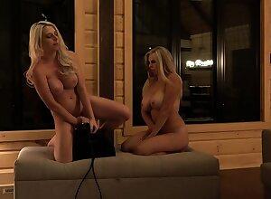 StrapOn Lesbian with big boobs fucks her festival sexy GF