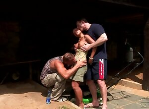 French Asian Jade Sin gets double penetrated in the garden